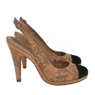 Chanel Leather & Silk Lace Laser-Cut Slingback Sandals