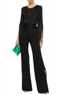 Galvan London Black Vesper Fringed Jersey Top
