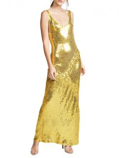 Galvan London Gold Sequin Valletta Gown