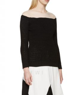 Loewe Black Open Knit Sweater With White Mesh Collar