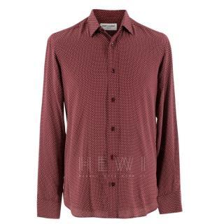 Saint Laurent Men's Red Polka Dot Shirt