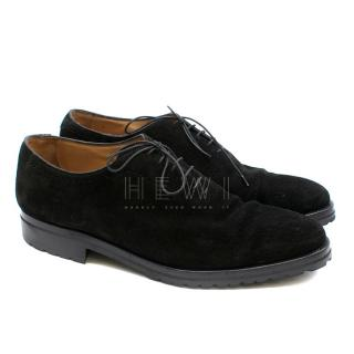Kiton Black Suede Brogue Dress Shoes