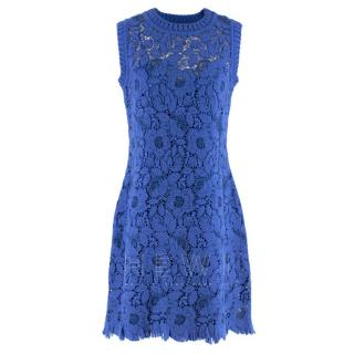 Ermanno Scervino Blue Sleeveless Lace Knit Dress