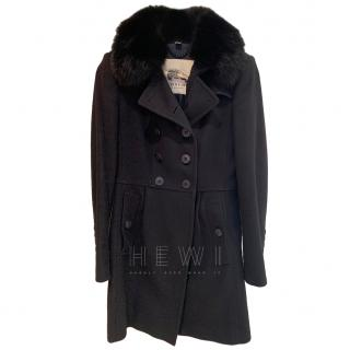 Burberry Prorsum Cashmere & Wool Coat W/ Fox Fur Collar