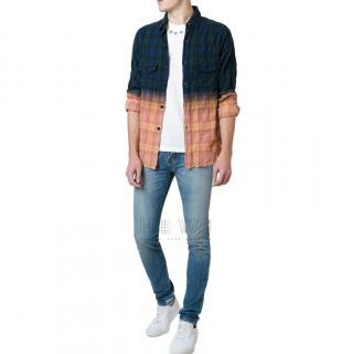 Saint Laurent Checked Tie Dye Ombre Shirt