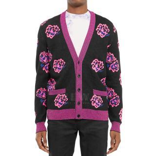 Saint Laurent Men's Rose Jacquard Wool Blend Cardigan