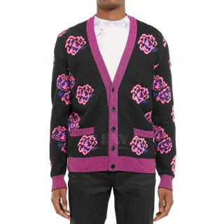 Saint Laurent Men's Rose Jacquard Wool Blend Cardigan