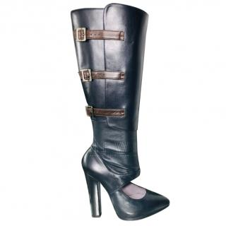 Versace Navy Cut-Out Leather Knee Boots