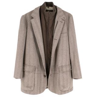 Loro Piana Herringbone-Tweed Coat with Detachable Brown Gilet