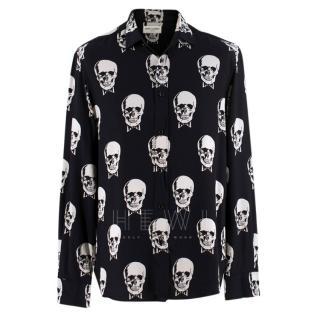 Saint Laurent Black & White Skull Print Shirt