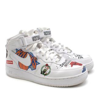 Nike White NBA Supreme Air Force 1