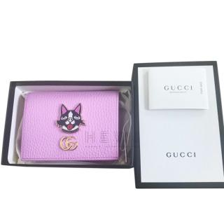 Gucci Limited Edition Pink Leather Cat Applique Wallet