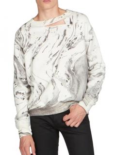 Saint Laurent Marble Print Distressed Crew Neck Sweater