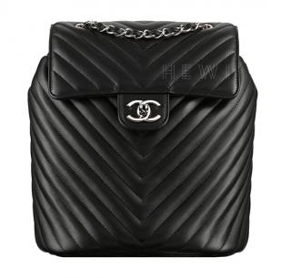Chanel Black Chevron Leather Urban Spirit Backpack