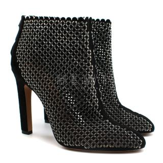Alaia Laser-Cut Suede Ankle Boots