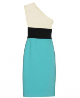 Fausto Puglisi Wool & Silk Blend Colour Block One Shoulder Dress