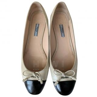 Prada Two-Tone Saffiano Leather Ballerina Flats