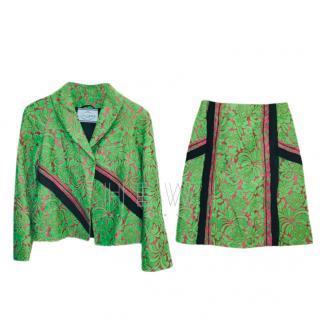 Prada Green & Pink Floral Jacquard Skirt & Jacket