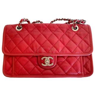 Chanel Red Lambskin Pouch Flap Bag