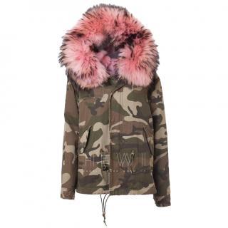 Mr & Mrs Italy Camo Parka W/ Pink Fox & Racoon Fur Lining