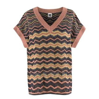 M Missoni Pink Metallic Knit Oversize Top