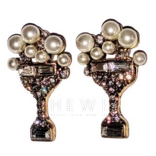 Bespoke Crystal Champagne Glass Earrings