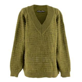 Bahns Green Alpaca & Merino Wool Blend V-Neck Jumper