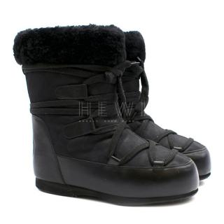 Chanel Black Shearling Lined Snow Boots