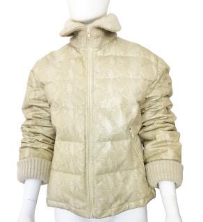 Iceberg Snake Print Leather Puffer Jacket