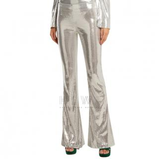 Galvan Galaxy Silver Sequin Flared Trousers