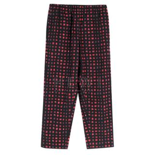 Marni Cotton Black & Pink Printed Trousers