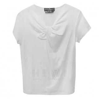 Salvatore Ferragamo white cotton tie front top