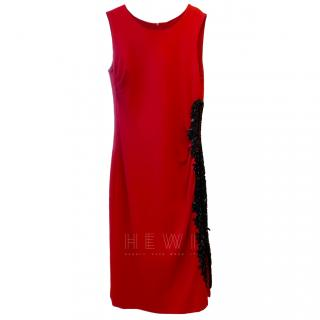 Escada red dress with black bead and sequin detail
