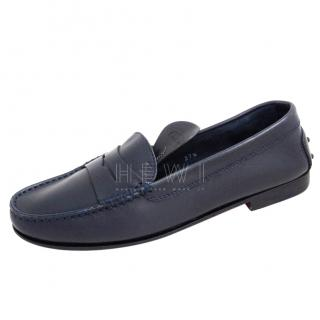 Tod's Blue Leather Penny Loafers