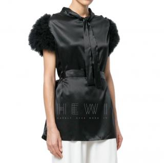 Maguy de Chadirac Marabou Feather Silk Satin Top