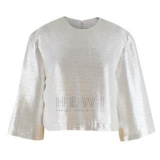 Galvan Silver Lurex Cropped Top