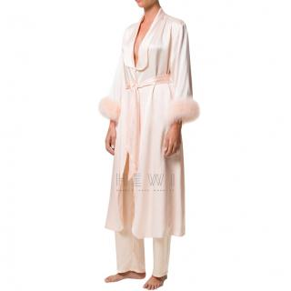 Maguy de Chadirac Peach Marabou Trimmed Dressing Gown