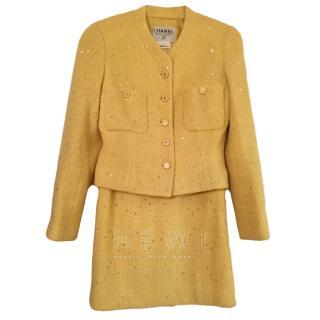 Chanel Yellow Embellished Skirt & Jacket