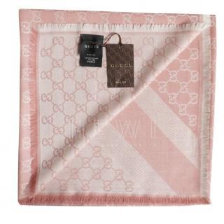 Gucci Pink Monogram Silk Scarf