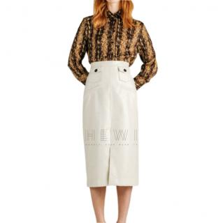 Alexa Chung Cracked PVC Cream Skirt