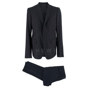 Jil Sander Navy Blue Wool and Cashmere Single Breasted Suit