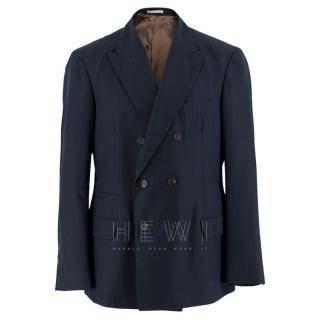 Brunello Cucinelli Navy Blue Double Breasted Blazer