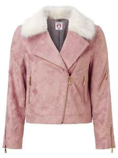 Shrimps faux-fur pink moto jacket