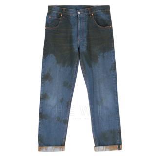 Gucci Blue Oil Stain Wide LegJeans