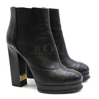 Chanel Black Leather Platform Boots