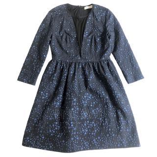 Sandro Black & Blue Star Embroidered Dress