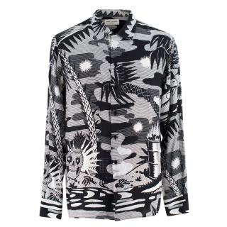 Saint Laurent Black and White Printed Silk Shirt