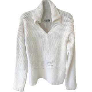 Maison Margiela White Open Knit Sweater