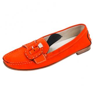 Tod's Orange Suede Moccasin Loafers