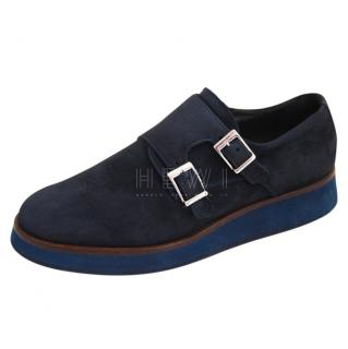 Baldini Blue Suede Double Monk Shoes